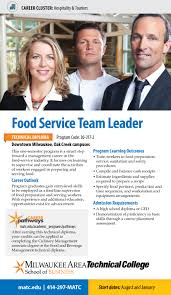 food service team leader detailed program information