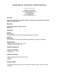 Sample Resume Format For Non Graduate And No Work Experience Best No