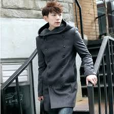 mens black wool pea coat pea coat long pea coat with hood double ted long wool trench coat men pea coat mens long black wool pea coat