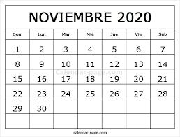 Calendario Noviembre 2020 Para Imprimir Calendario Noviembre 2020 Calendario Mensual 2020 Para