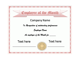 Employee Of The Month Certificate Templates Employee Of The Month Certificate Top Form Templates Free