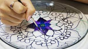 the process of stained glass painting stock photo image of drawing stained