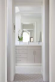 light gray flat front vanity cabinets with white quartz countertop