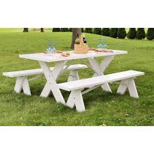 white patio furniture. White Vinyl Table With Unattached Plastic Outdoor Patio Bench Furniture