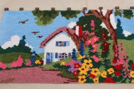 huge vintage latch hook yarn rug wall hanging tiny house w cottage garden