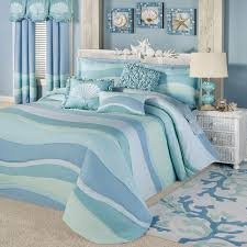 Coastal Bedding, Comforters, Quilts, Bedspreads | Touch of Class & Ocean Tides Grande Bedspread Cerulean Blue Adamdwight.com