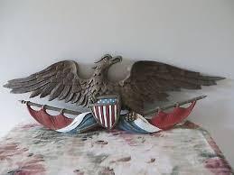 vintage brass american eagle bird wall ornament plaque home decor flag design