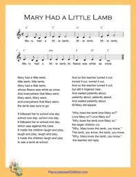 Includes lyrics, melody, and accompaniment. Mary Had A Little Lamb C Major Nursery Rhyme Free Piano Sheet Music Pdf