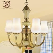 modern 5 arm copper chandelier white glass lamp shade lighting for el living room