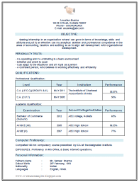 Chartered Accountant Ca Articleship Resume Sample Format For