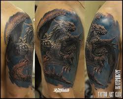 фото татуировки дракон в стиле реализм татуировки на плече
