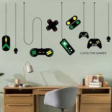 game console controller decorative chandeliers wall stickers gamer bedroom internet cafes study computer desk background sticker decals for walls