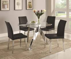 Clear Dining Room Table Clear Glass Top Metal Chrome Base Modern 5pc Dining Set