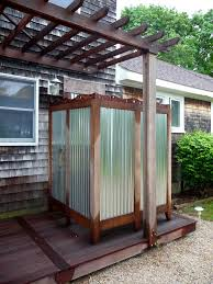 Appealing Reclaimed Wooden Pergola Roofs With Outside Shower On Wooden Deck  As Inspiring Backyard Country House Ideas