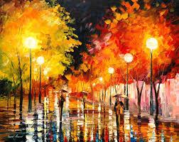 rainy night palette knife oil painting on canvas by leonid afremov