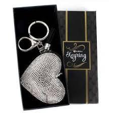 diamond studded heart keychain