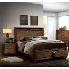 furniture of america nangetti rustic 2 piece king bedroom set in oak