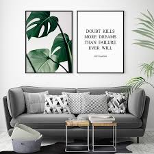 green monstera print tropical leaf poster wall art decor believe dreams inspirational quote canvas print on wall art decor with green monstera print tropical leaf poster wall art decor believe