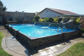 in ground swimming pool. Inground Pool · Glendale 1 2 Ledger Stone Siding Islander® With Raised Rock And Waterfall In Ground Swimming M