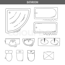 floor plan furniture vector. Set Of Linear Icons For Interior Top View Plans. Isolated Vector Illustration. Furniture And Elements Bathroom. Floor Plan. Sketch Furniture, Plan N