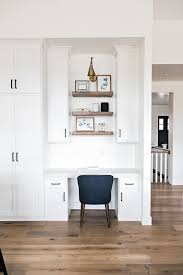 Home office nook Cozy Modern Farmhouse Space With Seamless Home Office Nook With Cabinets Builtin Digsdigs 25 Ideas To Incorporate An Office Nook Into Kitchen Digsdigs