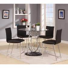 contemporary chrome and glass design modern bar chairs black lacquer base 45 round table top