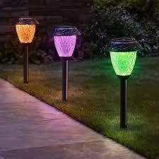 the customizable color solar garden lights single orange purple and green