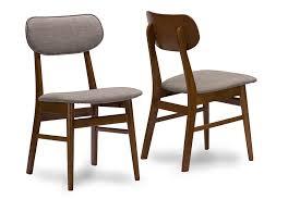 baxton studio sacramento mid century dark walnut wood grey faux leather dining chairs