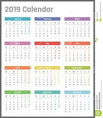 Calendar For 2019 Starts Monday Vector Calendar Design 2019 Year