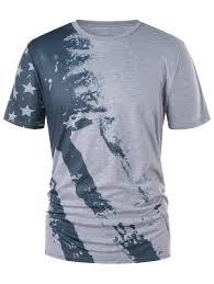 2018 Color Block American Flag Print T Shirt Gray L In T Shirts Print Color L