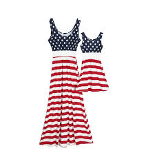 Cichic Red White Striped American Flag Mother And Daughter
