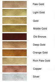 Brush N Leaf And Rub N Buff Colour Chart For Gold Leaf