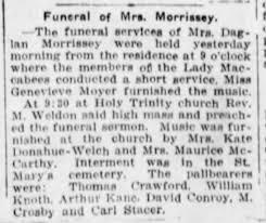 Mrs Daglan (Bertha Hilton) Morrissey funeral - Newspapers.com