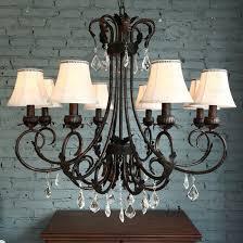 dramatic 8 light fabric shade modern crystal chandelier