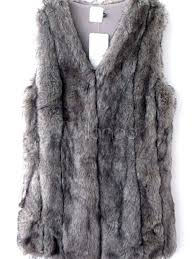 faux fur vest women gray coat sleeveless faux fur jacket