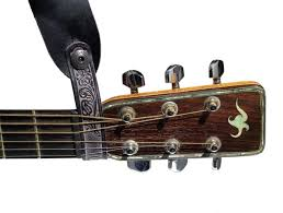 walker williams at 2 black leather acoustic guitar strap headstock adapter