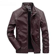 leather jacket men casual slim fit pu biker motorcycle leather jackets wine red