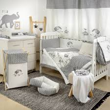 gray elephant crib bedding set