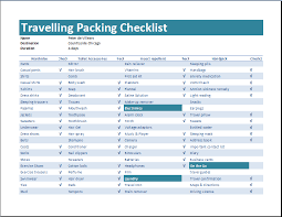 Packing List For Vacation Template Travelling Packing Checklist Template Word Excel Templates