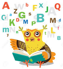 funny owl learn to read book on a white background cartoon vector ilrations owl
