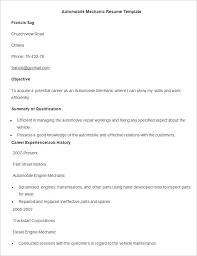 Mechanic Resume Sample Sample Automobile Mechanic Resume Template