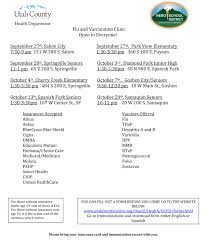 nebo and utah county health department flu clinics school