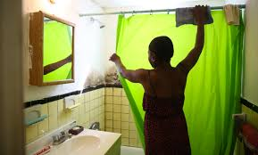 green bathroom screen shot: janice rambeau plans to move out of her one bedroom apartment she says she shouldnt have to dread taking showers in a moldy bathroom
