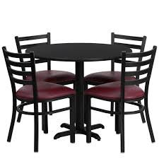36 round table set with 4 ladder back metal chairs with burdy vinyl seat 4 table top laminate options available