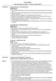 Administrator Project Resume Samples Velvet Jobs