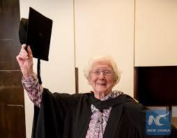 Feature: Retired British teacher aged 98 finally gains college degree -  Xinhua | English.news.cn