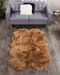 4 piece honey sheep fur rug quatro