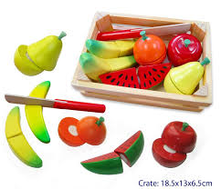 finlee and me wooden kids kitchen play food fruit cutting set