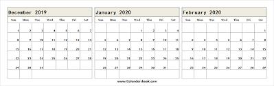 December 2019 January February 2020 Calendar Excel