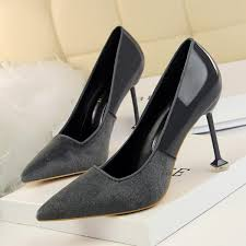 gray plush patent leather pointed toe high heel pumps